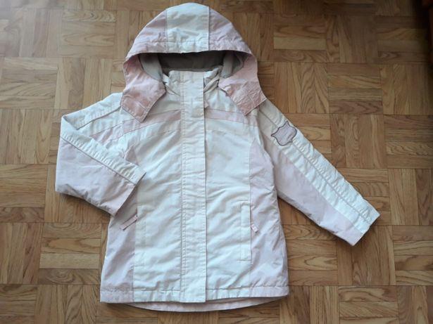 Śliczna różowo biała wiosenna dziewczęca kurtka rozm. 110