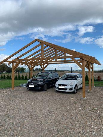 Wiata garażowa Drewniana 6m x 5,5m Garaż dwustanowiskowy