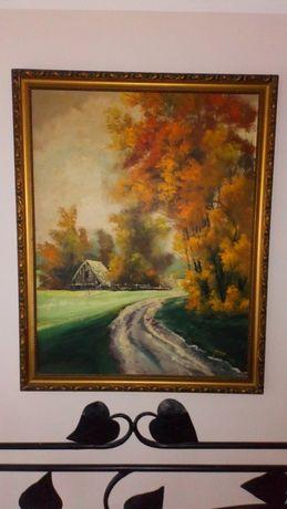 Ogromny obraz olejny olej pejzaż jesień Cetnarowski