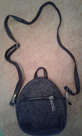 Кожаный маленький рюкзак-сумка