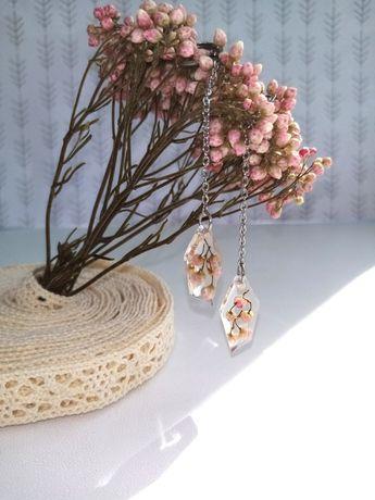Серьги, сережки з квітами, сережки зі смоли