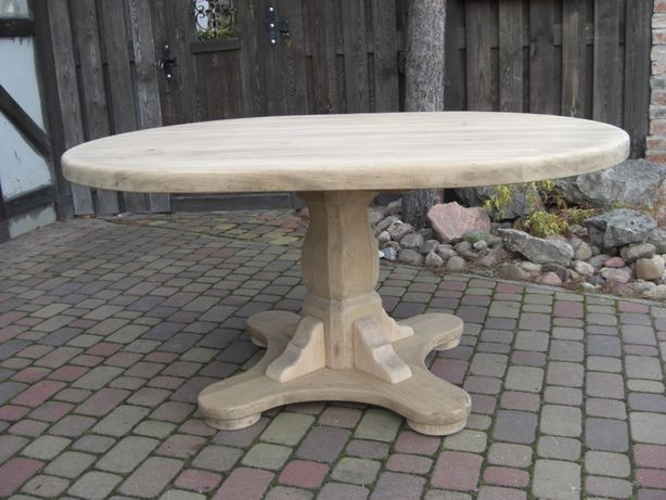 Stół dębowy MAGNAT owalny surowe drewno