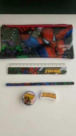 Estojo do homem aranha com régua lápis borracha e aguça