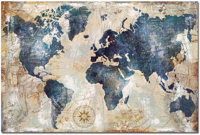 płótno 50x70cm - mapa świata