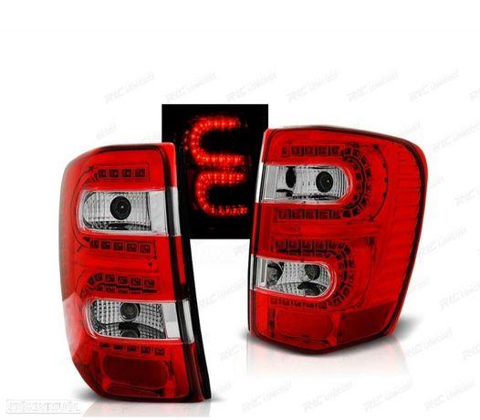 FARÓIS TRASEIROS LED CHRYSLER JEEP GRAND CHEROKEE 99-05 RED / CRYSTAL VERMELHO / CRISTAL