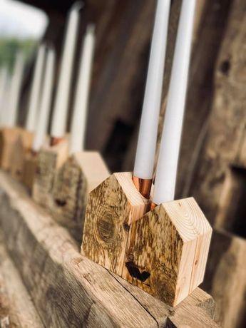 Drewniane świeczniki Wooden candlesticks Hand made Rękodzieło