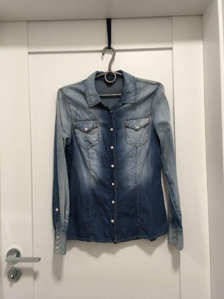 KOSZULA jeansowa, damska, niebieska, Rozmiar 38 (M/L)