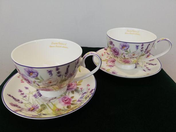 Piękny zestaw 2 filiżanek 2 talerzyki porcelana wzór kwiaty