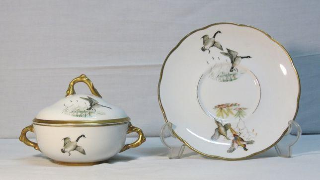 v-Terrina com prato decorados com gansos - Fábrica Artibus;