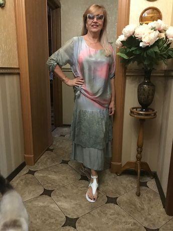 Итальянское платье акварельной расцветки, 46-52