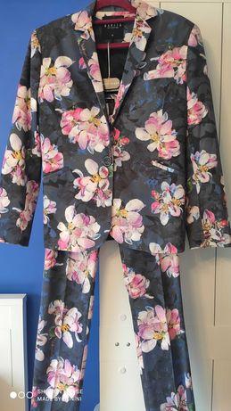 SUPER komplet jak NOWY:marynarka+spodnie w kwiaty, r.36 Mohito