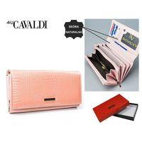 Różowy damski portfel skóra naturalna prezent kieszonki nowy PO13