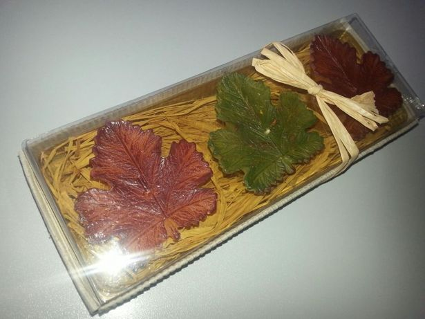 Świeczki ozdobne liście klonu ręcznie formowane
