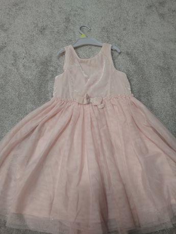 Różowa sukienka h&m tiulowa błyszcząca 116 122