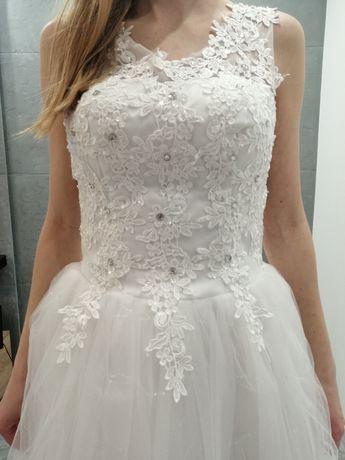 Suknia ślubna, biała, tiulowa, w literkę A, rozmiar 38, nowa!