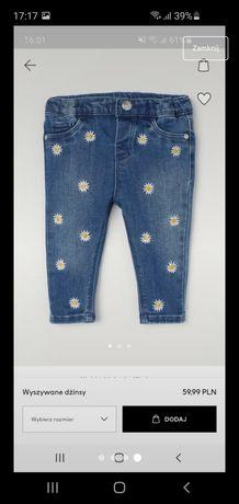 Jeansy w stokrotki h&m