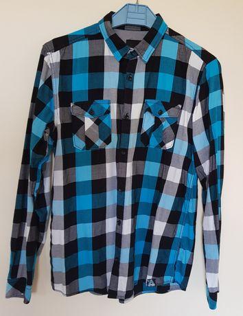 Męska koszula w kratkę z długim rękawem rozmiar M