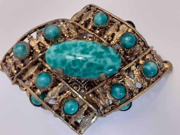 Antyczna broszka piękny, zielony kamień unikat super prezent