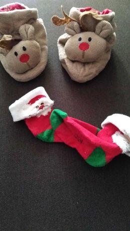 Skarpetki z Mikołajem, świąteczne papcie z reniferem