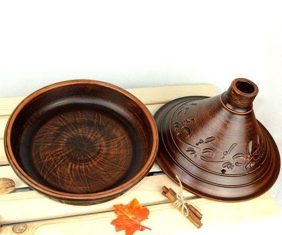 Тажин из керамики, гончарная посуда, посуда из красной глины