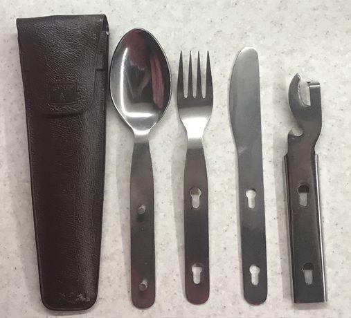 Набор туриста ( чехол, ложка, вилка,нож, открывашка) нержавейка СССР