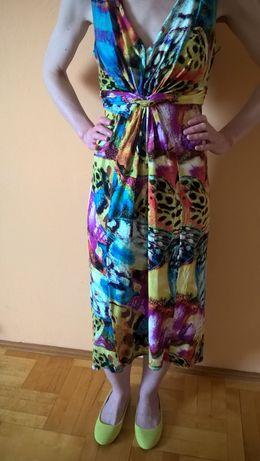 38 40 Sukienka Wallis jak nowa kolorowa midi wiskozowa wiskoza lato