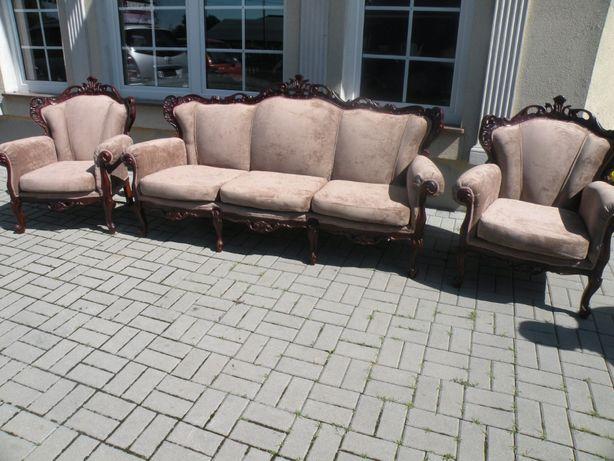 Komplet wypoczynkowy Sofa i 2 fotele w Stylu Ludwika