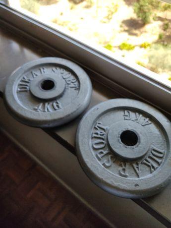 Discos/pesos musculaçao 8kg (2x 4kg)