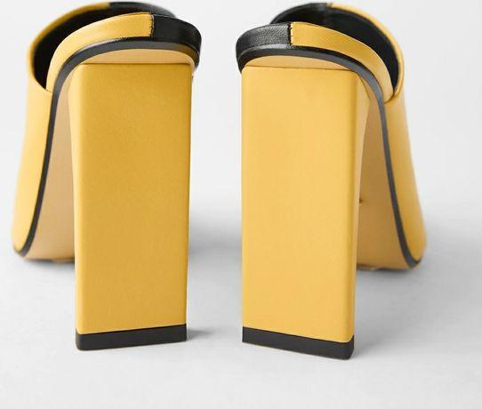 Zara klapki mules  żółte czarne 39 skórzane