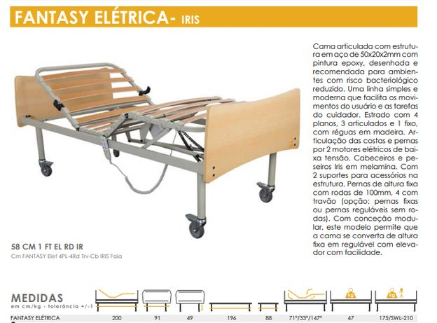 Cama articulada elétrica