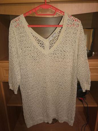 Piękny ażurowy dłuższy sweter,piękny tył 48/50