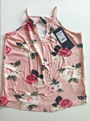 NOWA!!! Bluzeczka koszulka top z motywem kwiatowym MOODO rozmiar XS