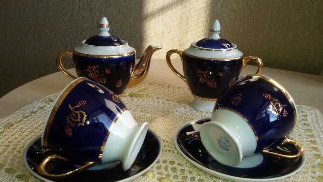 Чайный сервиз неполный, кобальт,Калинка.