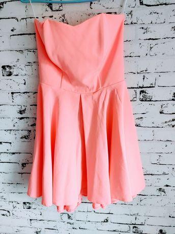Sukienka neonowa rozkloszowana różowa
