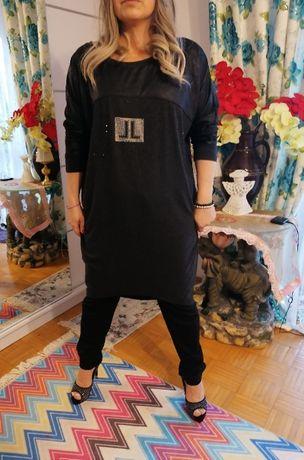 Plus Size 44/46 Grafitowe sukienki z kolorowymi cyrkoniami Zdobienia