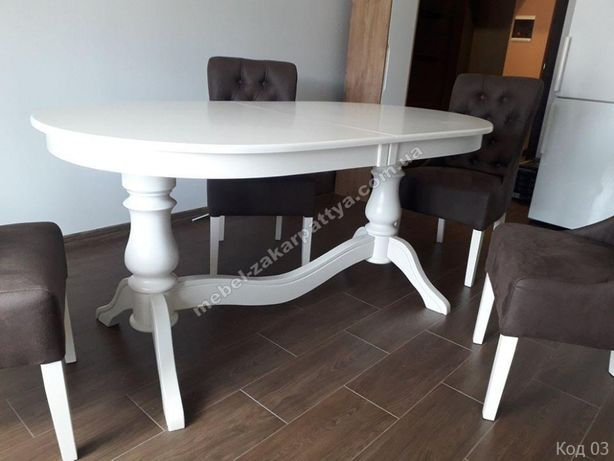 Стол кухонный раскладной овальный. Стол обеденный деревянный белый.