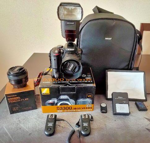 Kit Nikon D3300 + AF-S DX 18-55mm com muitos acessórios