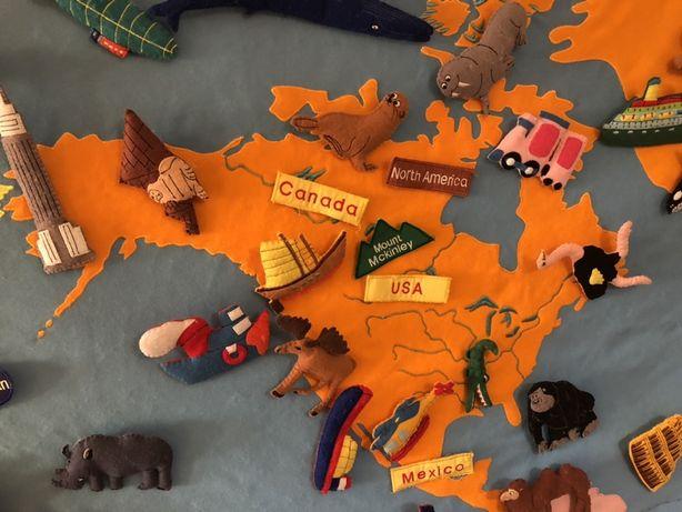 Quadro mapa mundo didactico e decorativo criança