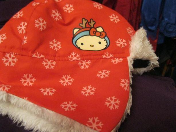 детская китти шапка демисезонная hello Kitti красная мех белый кошка