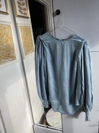 Niebieska elegancka wizytowa bluzka koszula m 38
