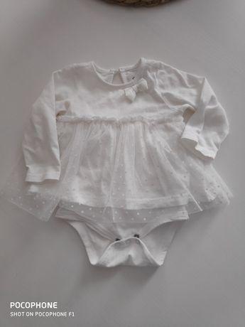 Sukienka biała 68 z tiulu  mała księżniczka jak nowa