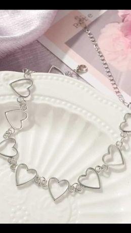 Чокер цепочка в форме сердечек