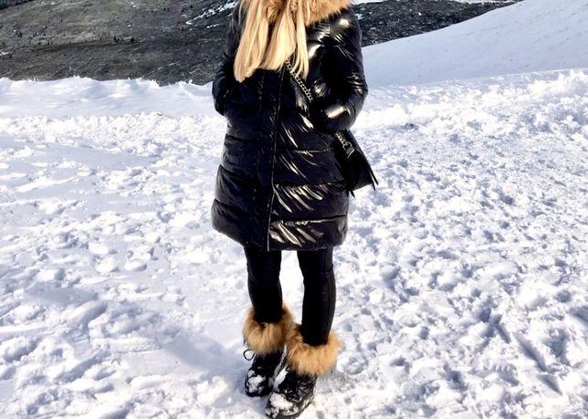Mega ciepła kurtka zimowa parka płaszczyk lakierowana pikowana futerko