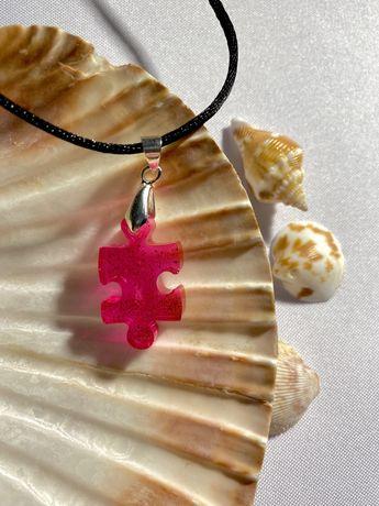 Naszyjnik puzzel różowy