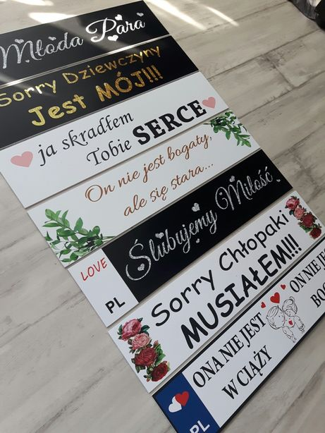 Tablice samochodowe PCV rejestracyjne, dekoracja auta, ślubne, weselne