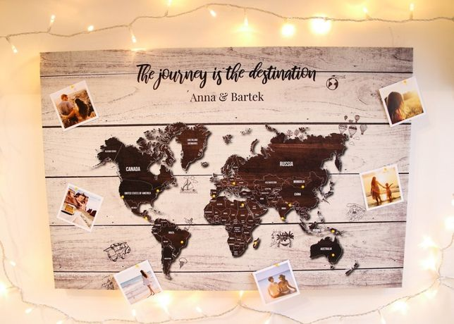 Drewniana mapa świata 60x90 cm z Twoim imieniem