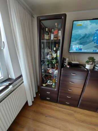 Witryna szklana 2 szuflady, wenge
