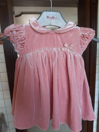 Elegancka różowa połyskowa sukienka 3-6 miesięcy Next