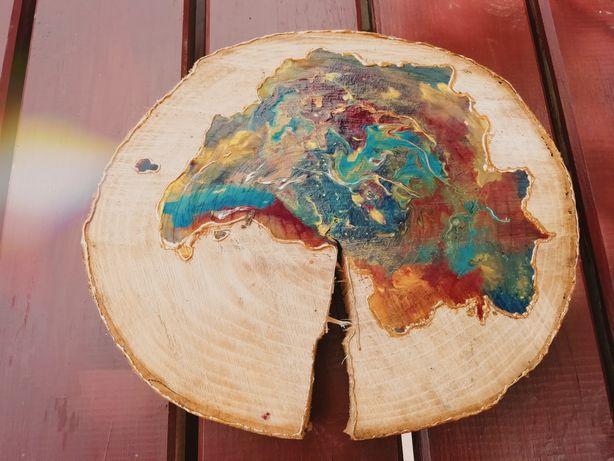 Obraz na plastrze drewna przedstawiający kolorową plamę