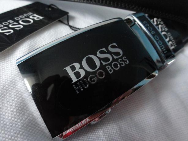 Pasek Hugo Boss męski do spodni czarny 120 cm automat regulacja